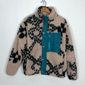 UO Teddy Bear Jacket Pink Black & Teal XS